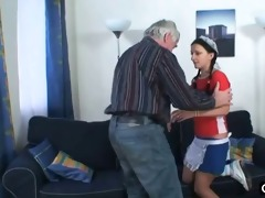 old fellow fucks his sexy maid