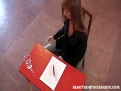 redhead seduces her professor to pass exam
