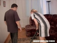 hot mom acquires hard young wang after cleaning!