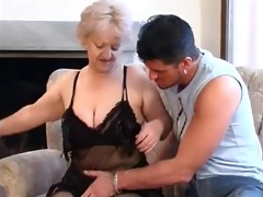 sexy golden-haired granny blows young thick cock