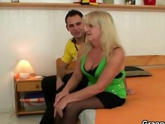 he is screws blonde grandma in darksome stockings