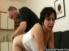 she is receives her old hairy hole filled with