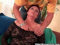 sexy grandma enjoys his schlong in her face hole