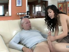 diminutive coed nicole ferrera bangs an older boy