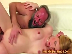 hairy old dude fucks petite golden-haired wazoo