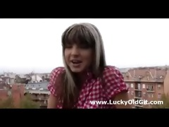 cute young brunette playgirl teases older british