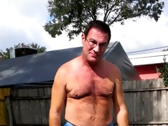 my sexy ciber dad strips outside