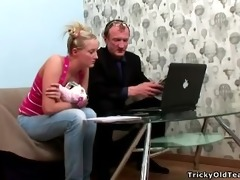 tricky old teacher - golden-haired hot young