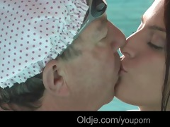 nasty redhead teeny suck old cock in the pool