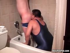 pervy lad pissing in boyfriend&#039 s face