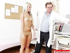 old doctor checks young blonde girl venus muff