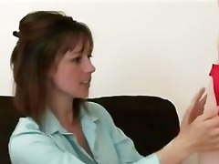 aged woman interviews younger cfnm waiter for job