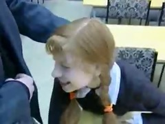 redhead schoolgirl and teacher