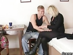 aged blonde takes it from behind