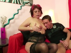 mom in lingerie fuck hardcore youthful lad after