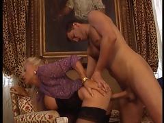 aged blonde fucks her man