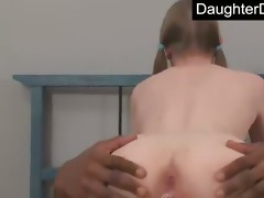 daughter throat and cum-hole fucked hard