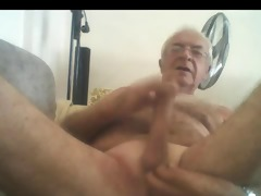 silver chest grand-dad stroke and cum