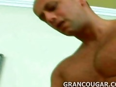 grancougar engulfs young meat with her old hole