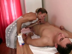 granny masseuse getting her hairy aperture pounded