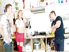 nice russian beauty drilled by strong man