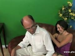 grandpa fucks a slender slut with tiny tits