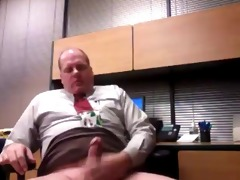 aged executive daddy jacking off at the office